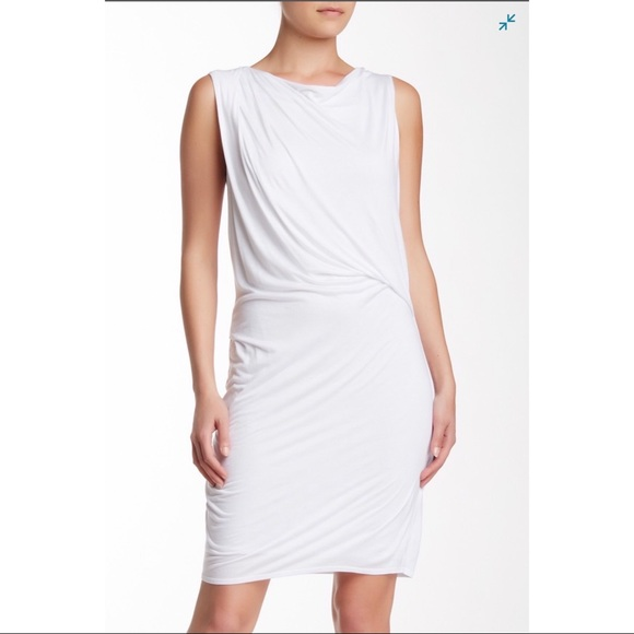Helmut Lang White Crossover Draped Dress NWT